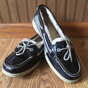 Warm Black Leather Fuzzy Sperry Top-Siders 7.5